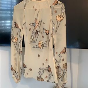 Hermes sheer blouse with embroidery